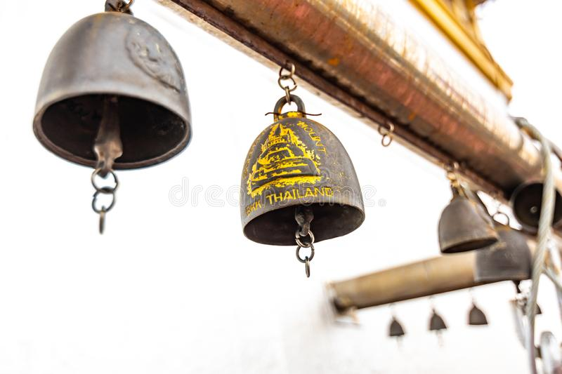 Bells on the top of Wat Saket temple Golden mount in Bangkok, Thailand. Religion bells are buddhist symbol of religion. Famous stock photos