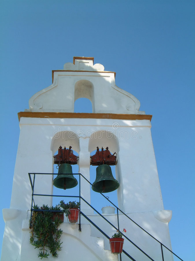 Belltower. At the old church in San Stephanos, Corfu stock photos
