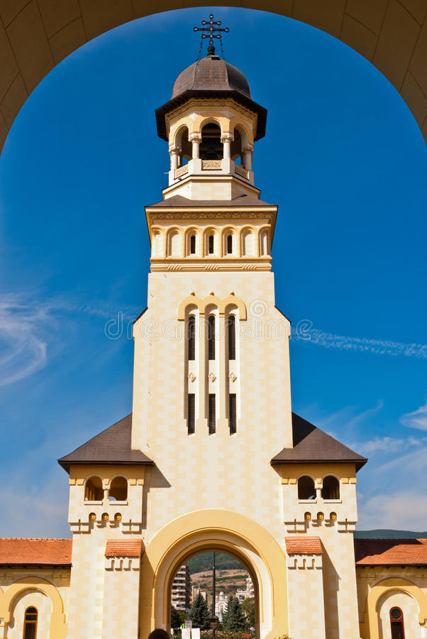 Belltower of Archiepiscopal Cathedral, Alba Iulia stock photos
