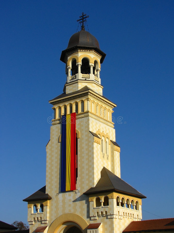 Belltower of Archiepiscopal Cathedral, Alba Iulia. The Archiepiscopal Cathedral from Alba Iulia was build between 1921-1922, and mark the great union of romanian royalty free stock photography