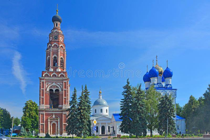 Belltower, Cathedral of the Archangel Michael and Church of the Icon of the Mother of God Jerusalemin the centre of Bronnitsy city royalty free stock image
