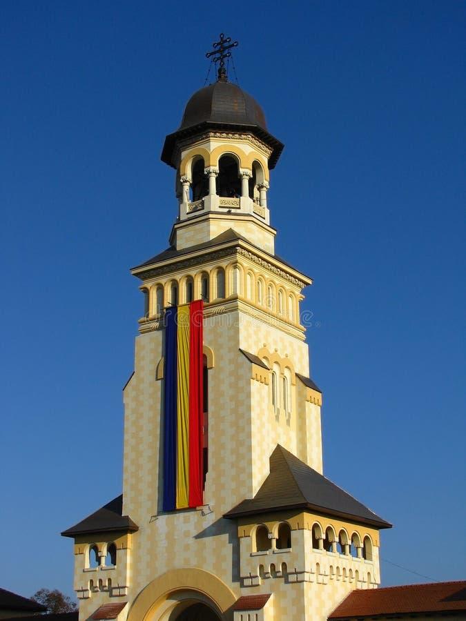 Belltower da catedral de Arhiepiscopal, Iulia alba fotografia de stock royalty free