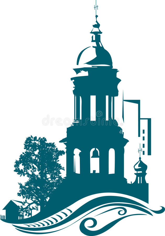 Belltower da igreja ilustração do vetor