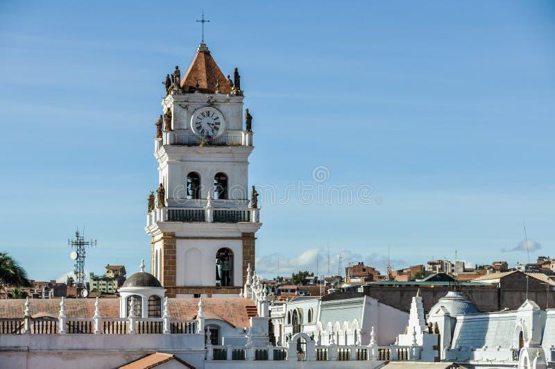 Belltower do monastério de Felipe Neri no sucre, Bolívia fotos de stock royalty free