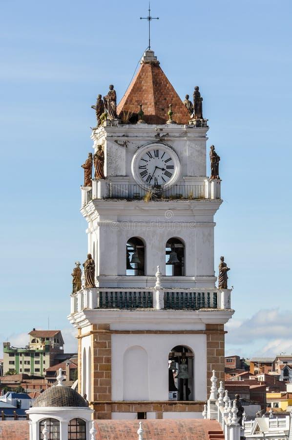 Belltower do monastério de Felipe Neri no sucre, Bolívia imagens de stock royalty free