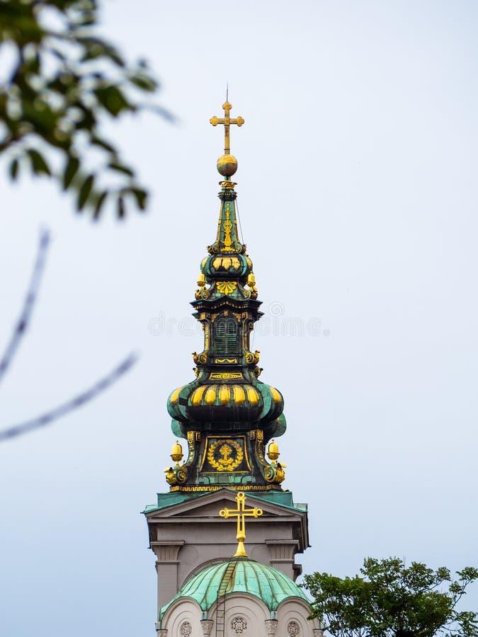 Belltower du bâtiment du patriarcat, Belgrade, Serbie images libres de droits