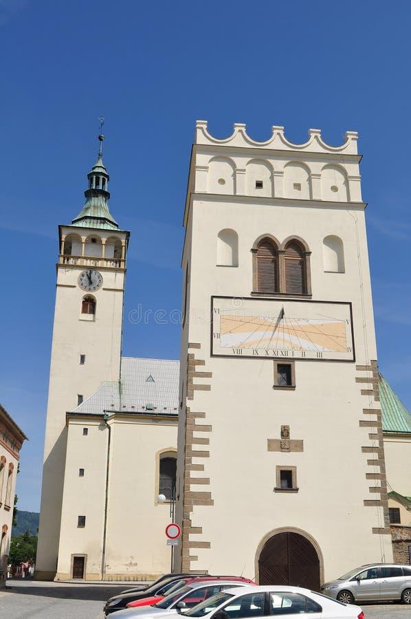 Belltower Lipnik, Tjeckien royaltyfria foton
