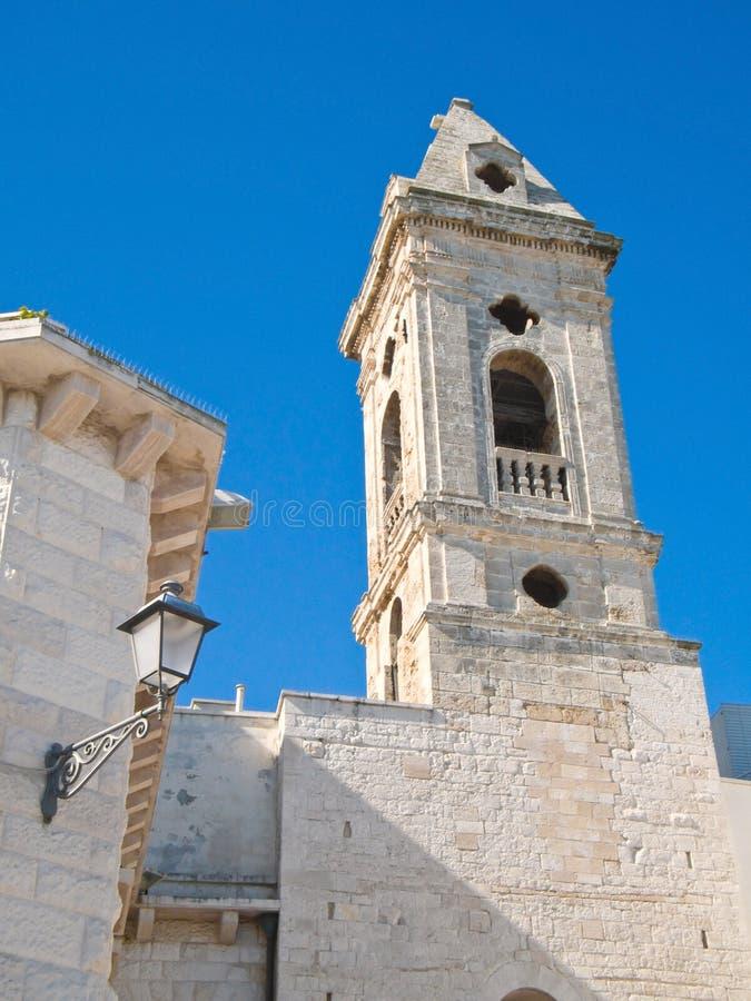 Belltower in oldtown of Bari. Apulia.