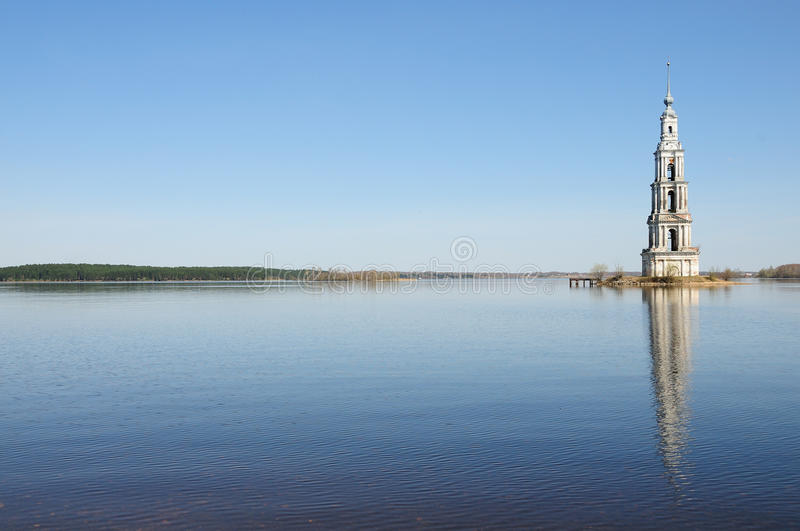 Belltower on river Volga, Kalyazin, Russia. The flooded belltower on river Volga, Kalyazin, Russia stock photos