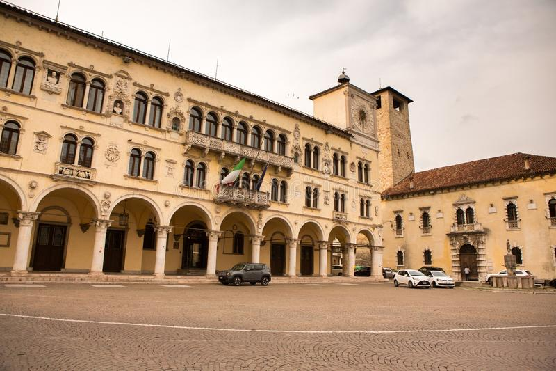 BELLUNO, ITALY – MAY 03, 2019: the historic city center of Belluno. BELLUNO, ITALY – MAY 03, 2019: the historic city center of Belluno. Veneto region stock photo