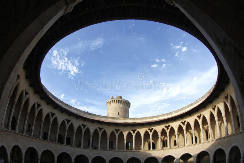 Bellver城堡圆的墙壁 库存照片