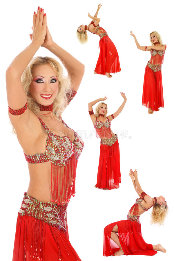Belly-dance. Collage with five shots of beautiful blonde belly-dancer in red costume over white background stock photography