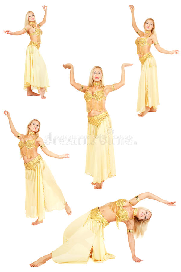 Belly-dance. Collage with five shots of beautiful blonde belly-dancer in yellow costume over white background stock photos