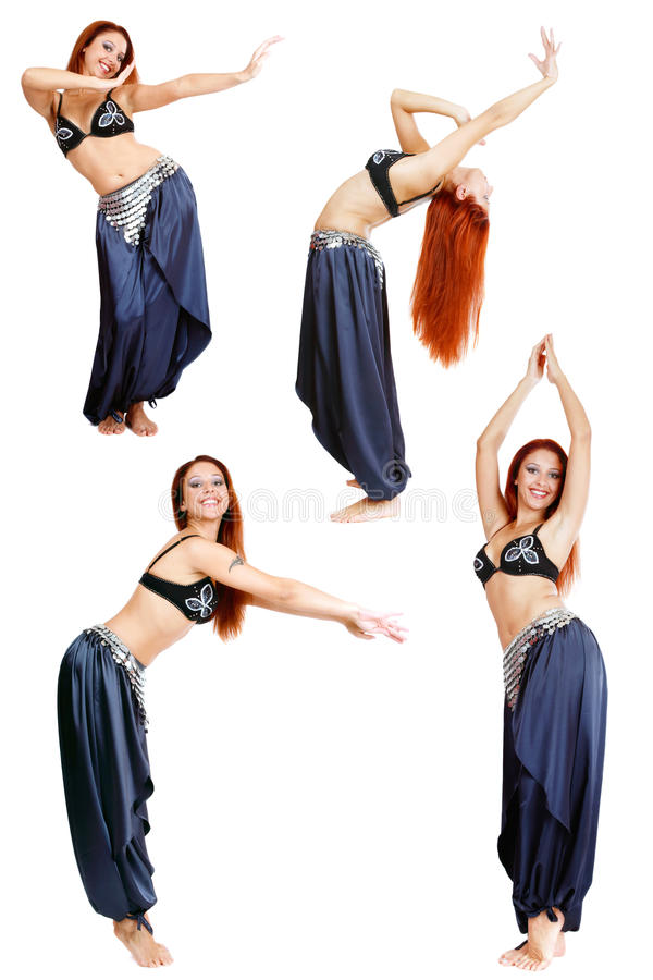 Belly-dance. Collage with four shots of beautiful redhead smiling belly-dancer over white background royalty free stock photos
