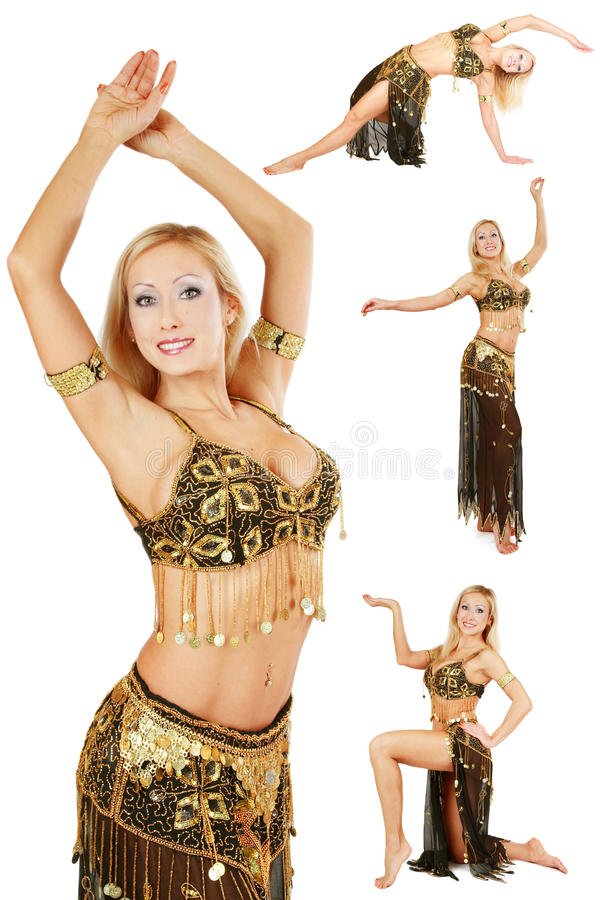 Belly-dance. Collage with four shots of beautiful blonde belly-dancer in golden costume over white background royalty free stock images