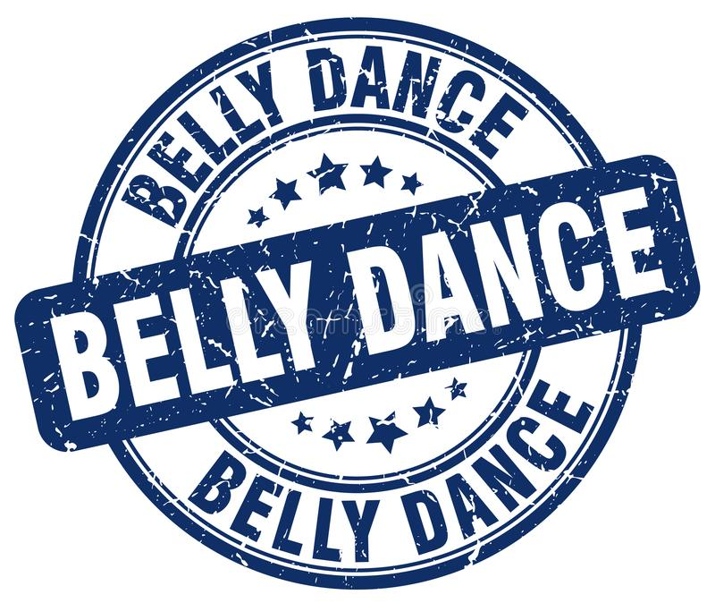 Belly dance blue stamp. Belly dance blue grunge round stamp isolated on white background royalty free illustration
