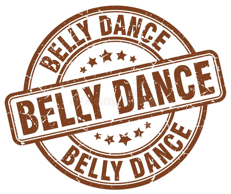 Belly dance brown stamp. Belly dance brown grunge round stamp isolated on white background stock illustration