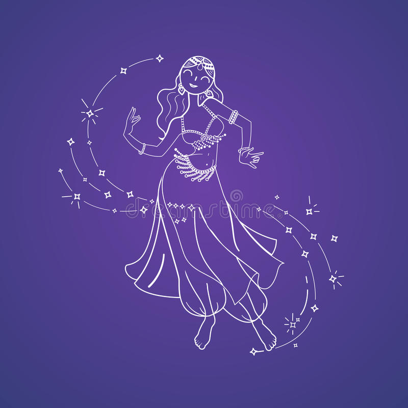 Belly Dance Day. Concept of oriental dance in the form of a dancing woman. Belly Dance Day. Icon in the linear style royalty free illustration