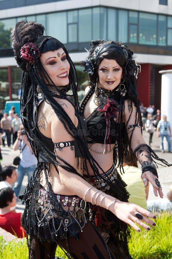 Belly dance girls at Wave Gothic Treffen stock photo
