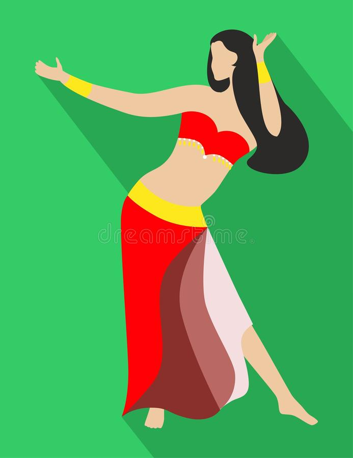 The belly dance. The illustration of a beautiful woman - oriental dancer vector illustration