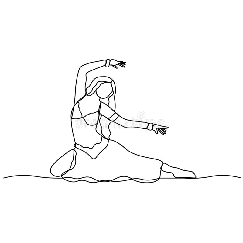 Belly dance. Turkish tane. Dancing girl depicted by a continuous line. Vector isolated illustration.  stock illustration