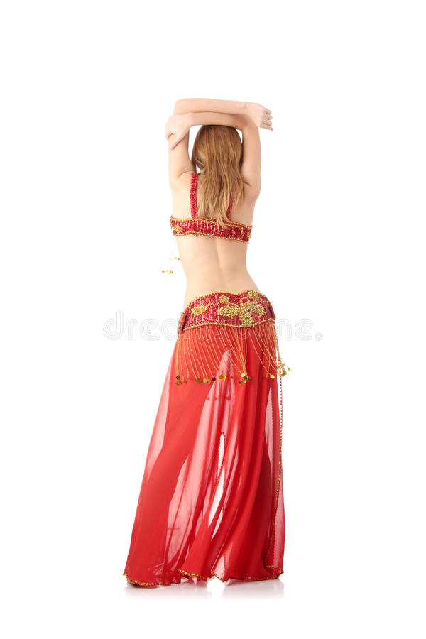 Belly dancer. Teen girl in belly dancer costume dancing, isolated on white background stock photos