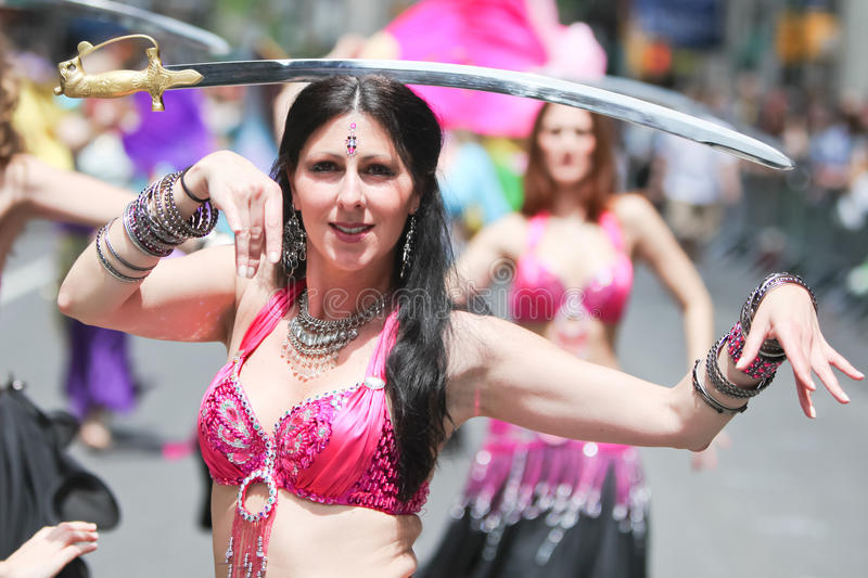 Belly Dancer. Participant in the Dance Parade in New York City, Manhattan. Photo taken on 21st May,2011 stock image