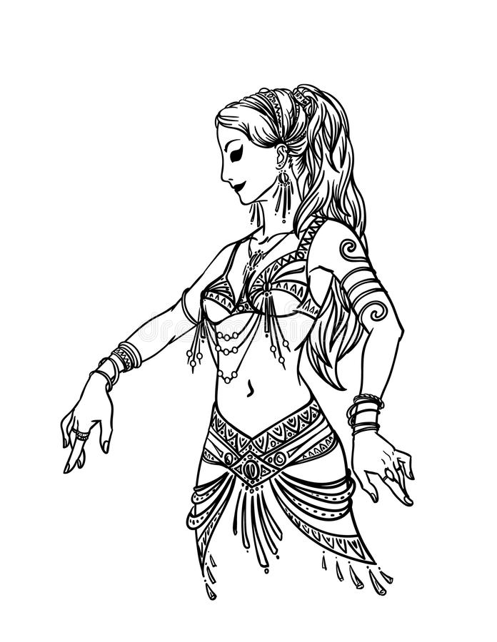 Belly Dancer Girl in Hand Drawn Style. Vector Illustration of Beautiful Woman Dancing in Hand Drawn Style on a White Background for Your Design. Femininity royalty free illustration