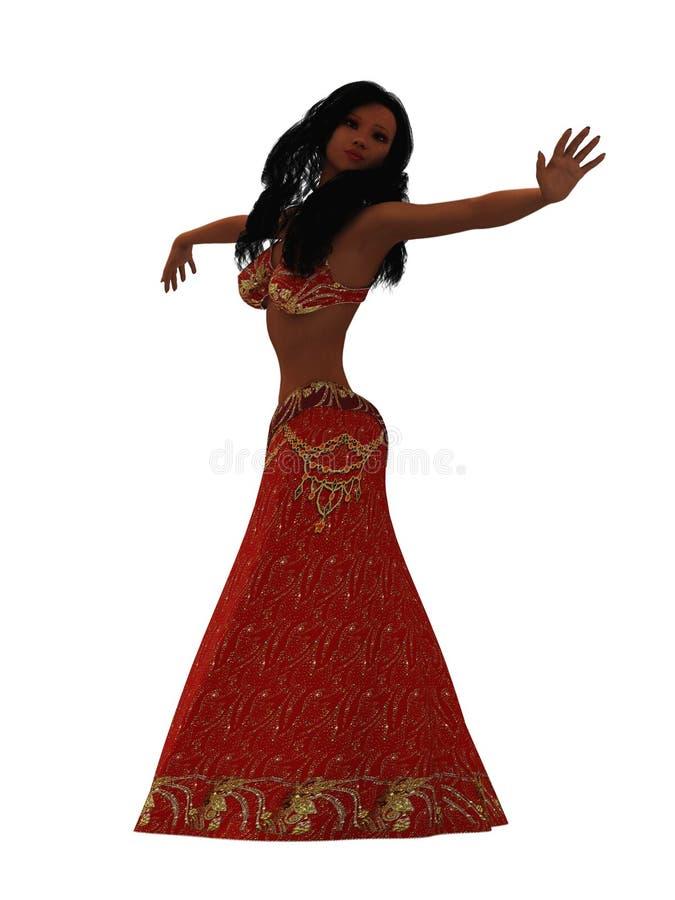 Belly dancer isolated on white stock illustration