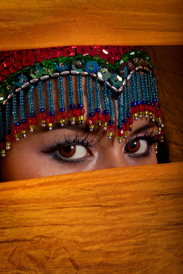 Download Belly Dancer Peeking From Behind Veil Stock Photo - Image: 9850404