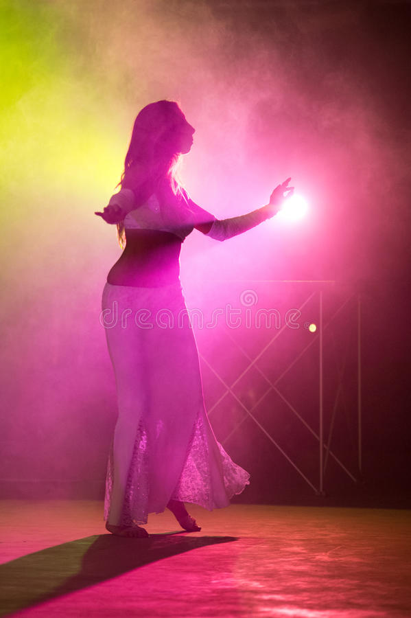 Belly dancer performing royalty free stock images