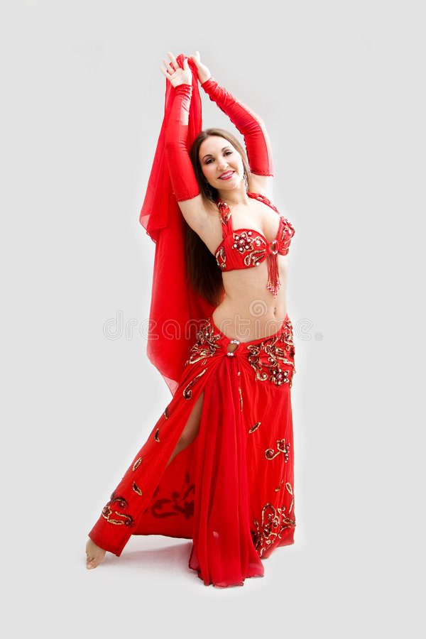 Belly dancer in red stock photos