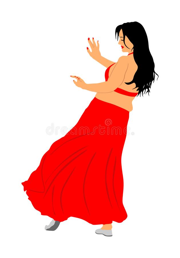 Belly dancer woman coquette , Traditional Arab entertainment oriental dance. Sensual movement erotic lady. Belly dancer woman coquette illustration isolated on vector illustration