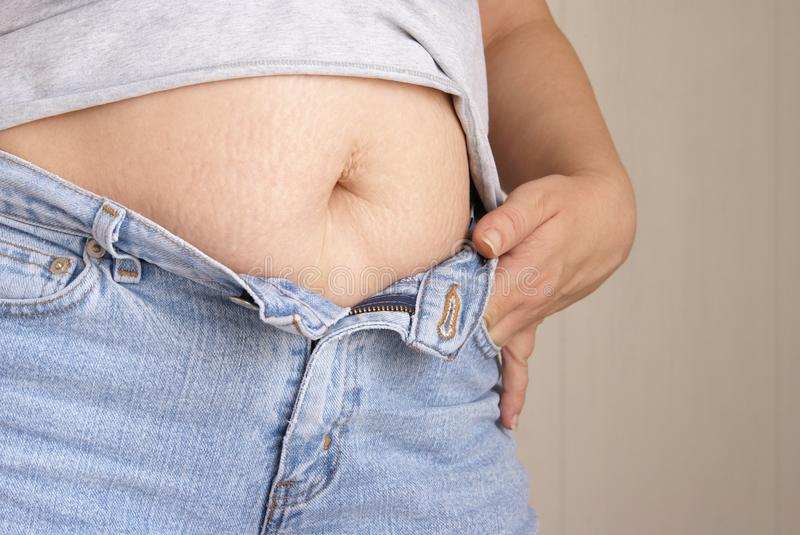 Download Belly Fat stock image. Image of jeans, loss, marks, denim - 9504415