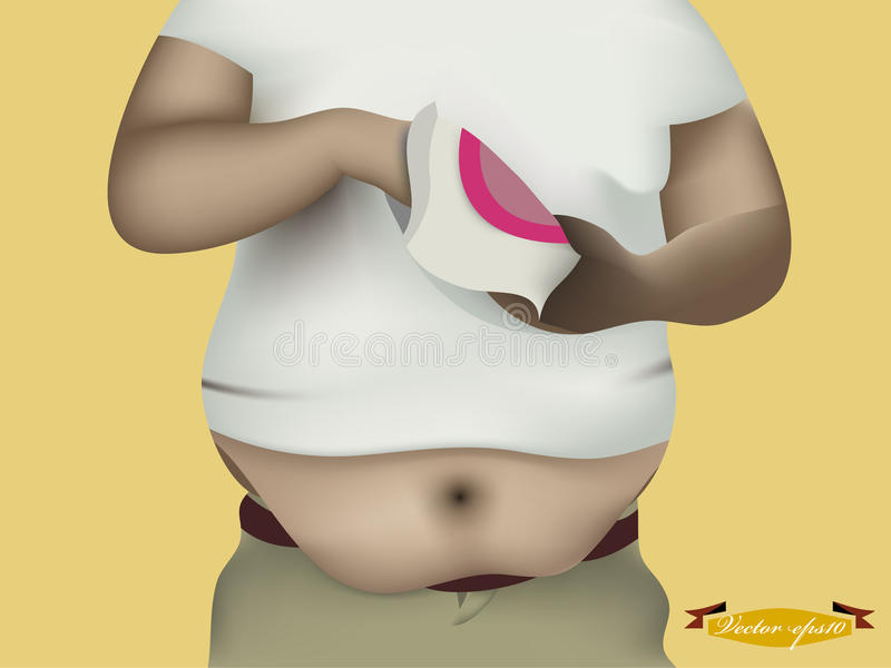 Belly fat man design concept. Realistic graphic design of fat man eating snack, belly fat man design concept royalty free illustration