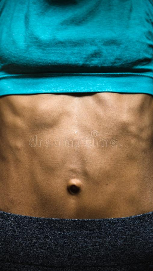 The belly of a slim woman close up stock image