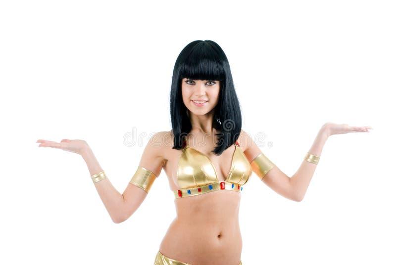 Bellydance Frau in der gelben Ägypten-Art. stockfotografie