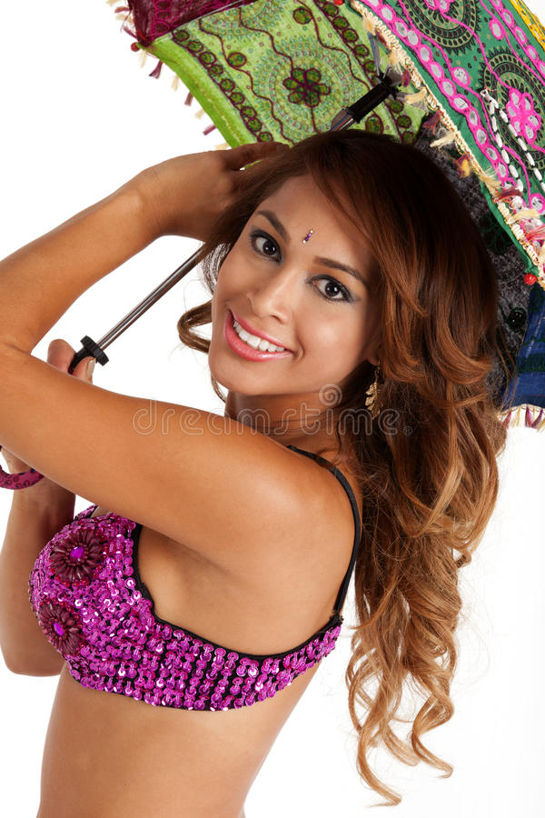 Bellydancer with Parasol royalty free stock images