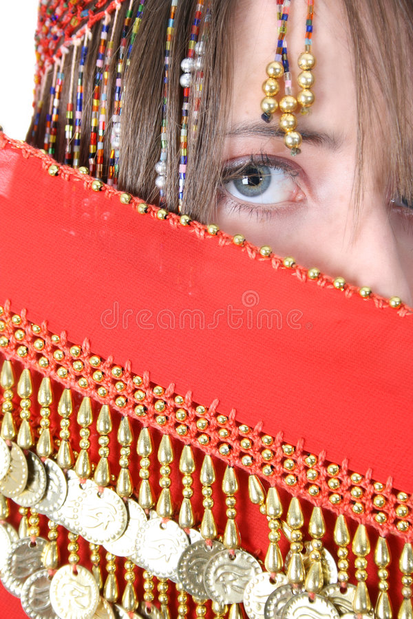 Bellydancing Teen. Beautiful young teenager posing in a belly dance costume stock photos
