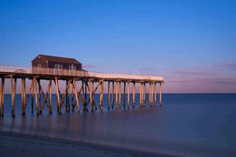 Belmar que pesca Pier Sunset foto de stock royalty free