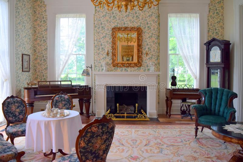 Belmont antebellum plantation music room stock photos