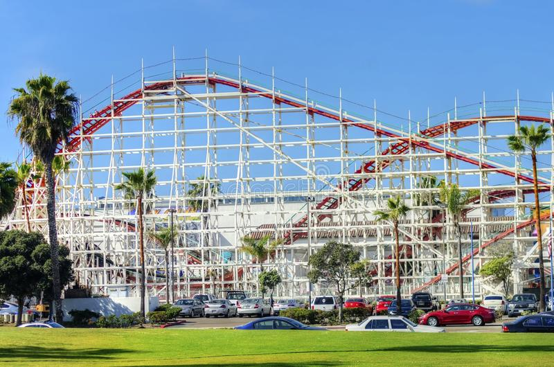 Belmont Park, San Diego, CA. The Belmont amusement Park in Bonita cove park in southern Mission Bay over the Pacific beach in San Diego, California in the United royalty free stock photo