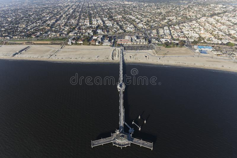 Belmont Pier Aerial View Long Beach Kalifornien stockfotos