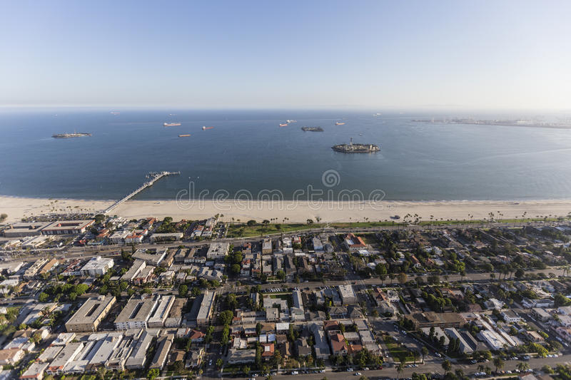 Belmont Shore Long Beach California Aerial. Aerial view of the Bluff Park and Belmont Shore neighborhoods in Long Beach, California royalty free stock photo
