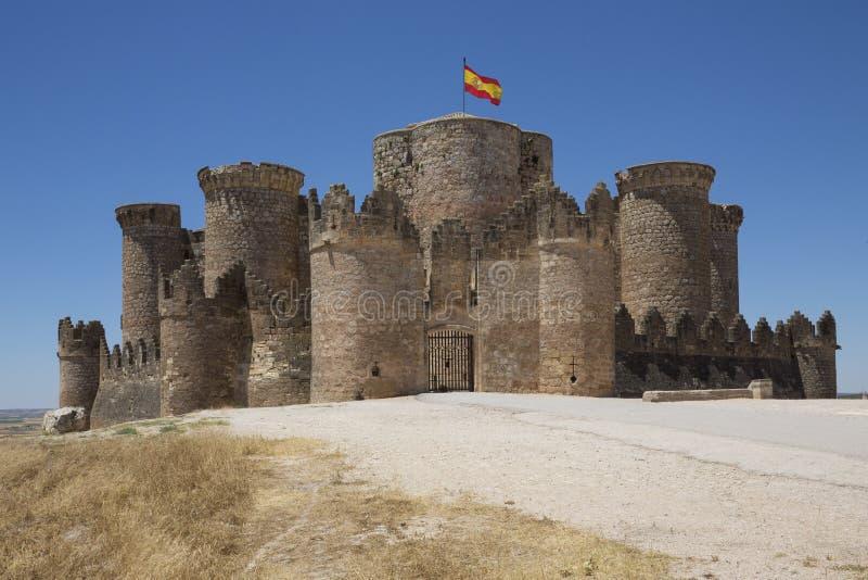 Belmonte Kasteel - La Mancha - Spanje stock afbeelding