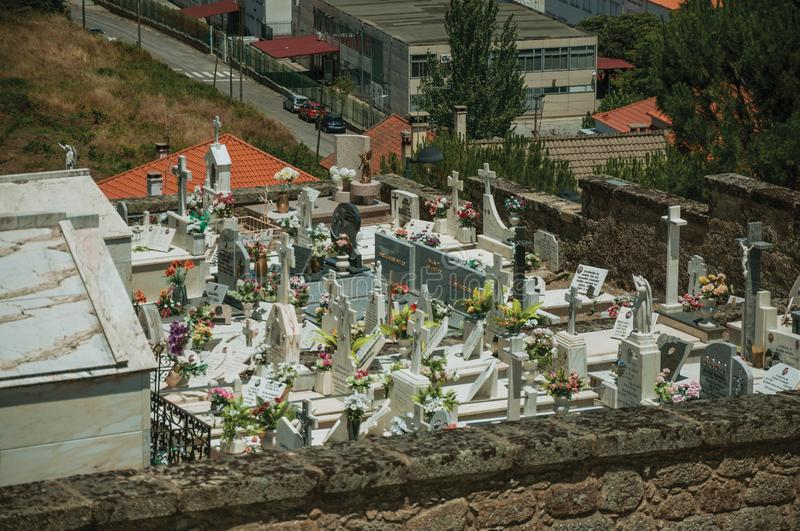 Cemetery with stone walls encircling tombs and crypts. Belmonte, Portugal - July 16, 2018. Cemetery with stone walls encircling tombs and crypts at Belmonte. A royalty free stock photo