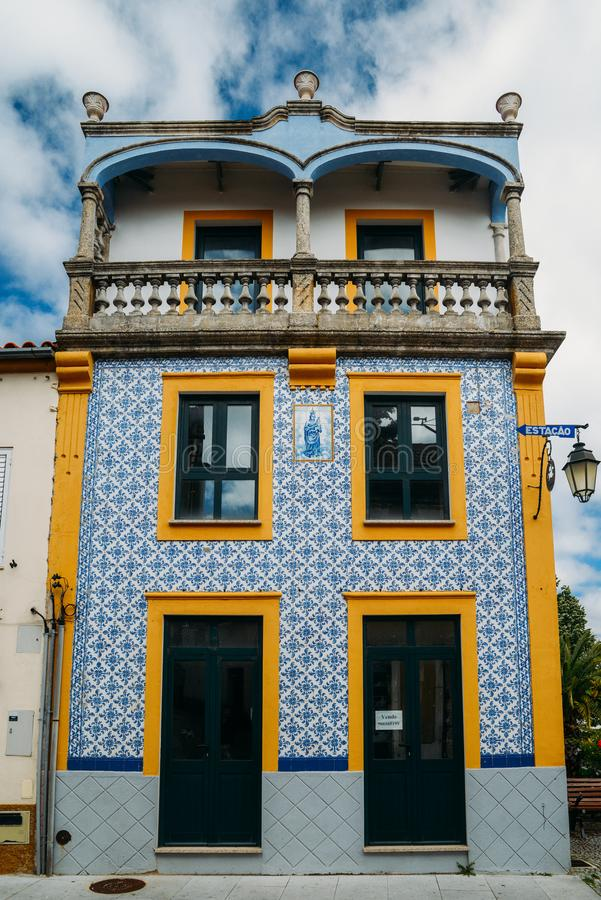 Facade of traditional building with typical Portuguese azulejo tiles. Belmonte, Portugal - June 11th, 2018: Facade of traditional building with typical stock photo