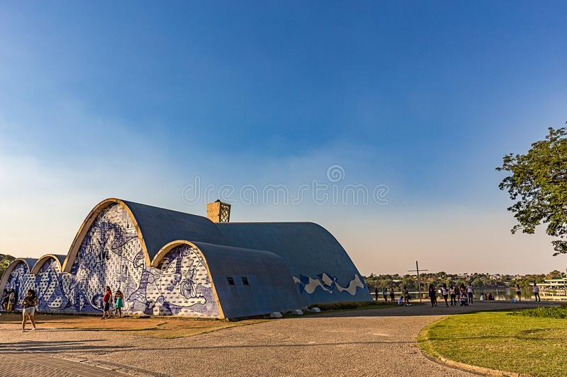 BELO HORIZONTE, BRAZIL - 14, OCTOBER, 2017: An exterior view of. The church of Saint Francis of Assis. Designed by Oscar Niemeyer, AKA The Pampulha Church stock images