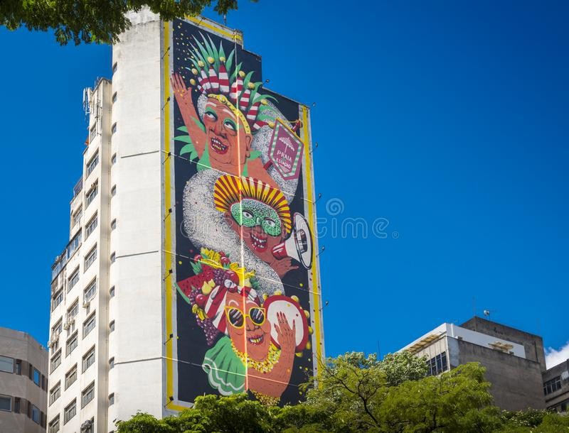 Mural by Spanish Artist, Marina Capdevila, in honour of the loca. Belo Horizonte, Minas Gerais, Brazil - Dec 24, 2017: Mural by Spanish Artist, Marina Capdevila royalty free stock images