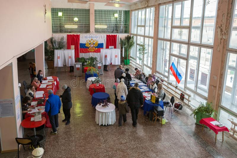Hall for voting in the Russian outback,is decorated with colors of Russian flag. royalty free stock images